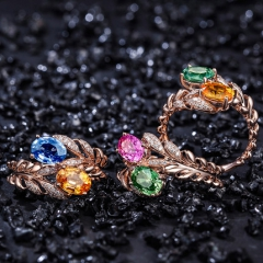 缘彩珠宝2克拉18K金彩色蓝宝石戒指钻钻戒女定制 国检
