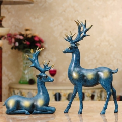 招财情侣鹿摆件客厅书房树脂软装工艺品装饰品摆设