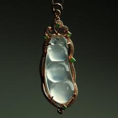银镶嵌四季豆玉髓挂件 女款吊坠 带证书 珠宝玉坠