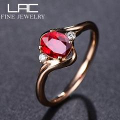 高级珠宝天然无烧鸽血红宝石戒指女18k金玫瑰金彩色宝石定制