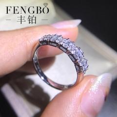 丰铂珠宝 18K白金钻石戒指 群镶公主方梯方钻石手镯戒指婚戒女戒