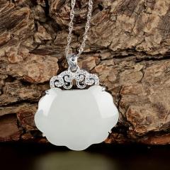 天然玉石和田玉吊坠女款银镶和田玉如意平安玉锁挂件项链