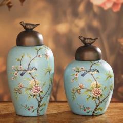 美式乡村花鸟陶瓷储物罐家居软装饰品客厅玄关酒柜样板间摆件欧式