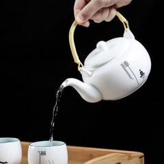 君器 脂白菩提壶功夫茶具套装 整套禅意提梁壶一壶六杯大茶壶套组